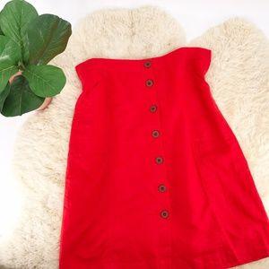 Universal Thread 1X Plus Red Linen Blend Skirt